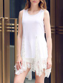 Lace Hem Swingy Tank Dress - White L