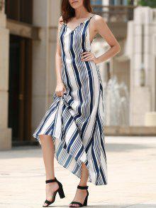 Backless Vertical Stripe Beach Dress - Blue And White Xl