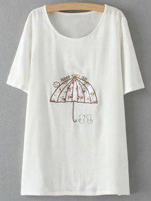 Plus Size Umbrella T-Shirt - White 2xl