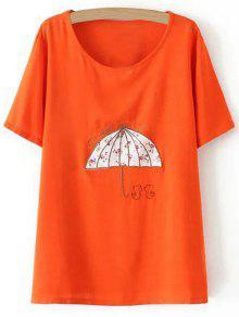Plus Size Umbrella T-Shirt - Jacinth 3xl