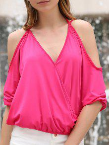 Cold Shoulder Plunging Neck Crossed T-Shirt - Rose L