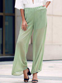 Pierna Ancha Pantalones Transparentes De Encaje Empalmado - Verde Del Ejército M