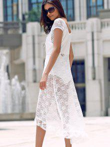 Scoop Neck Fit And Flare Lace Dress - White 2xl