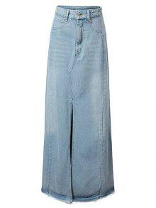 Front Slit Long Denim Skirt - Light Blue M