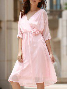 Cut V-Neck Half Sleeve Waisted Dress - PINK L