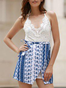 Lace Top Backless Tribal Print Dress - Blue And White S