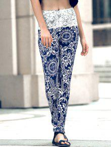 Ethnic Print Lace Spliced Skinny Pants - Black L
