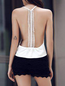 Buy White Lace Splicing Round Neck Tank Top - WHITE L