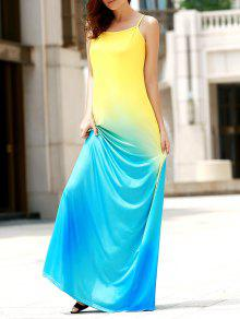 Halter Gradient Color Long Dress - M