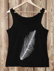 Buy Feather Print U Neck Sleeveless Tank Top - BLACK S