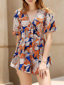 Floral Plunging Neck Short Sleeve Playsuit - L