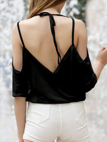 Buy Cold Shoulder Plunging Neck Crossed T-Shirt - BLACK M