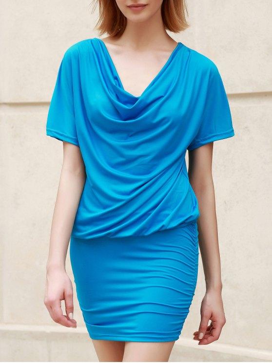 فستان ضيق نسائي قصيرة الأكمام - أزرق فاتح XL