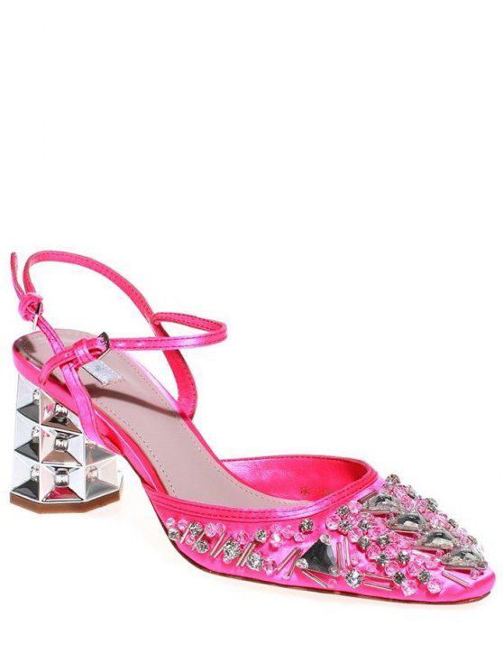 Strass satin sandales à talons Chunky - Rose 36