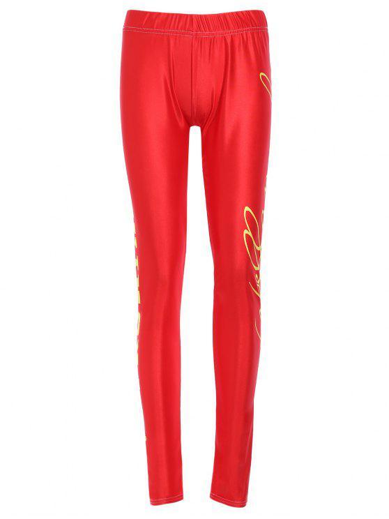 Jambières de sport taille élastique taille haute Lettre Imprimer moulantes Femmes - Rouge XL