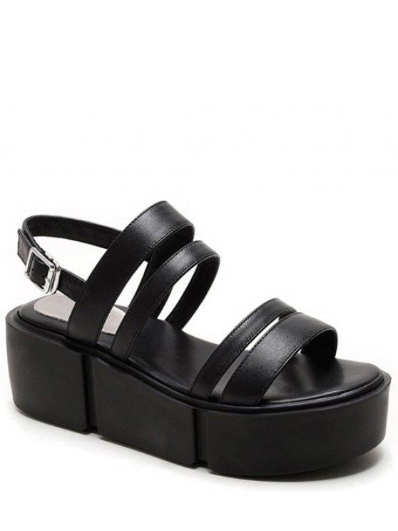 fashion Platform Solid Color Genuine Leather Sandals - BLACK 38