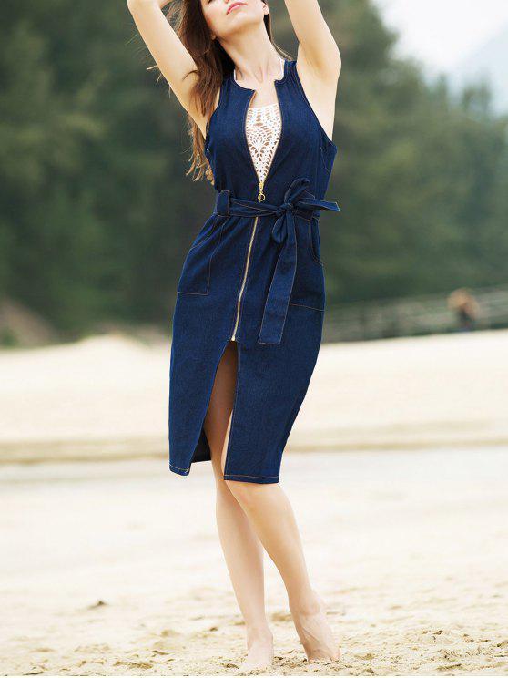 Col rond élégant manches Zipper Fly Belted Denim Robe fendue pour les femmes - Denim Bleu L