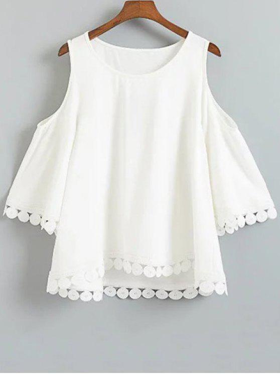 shops Hollow Lace Splice 3/4 Sleeve Blouse - WHITE XL