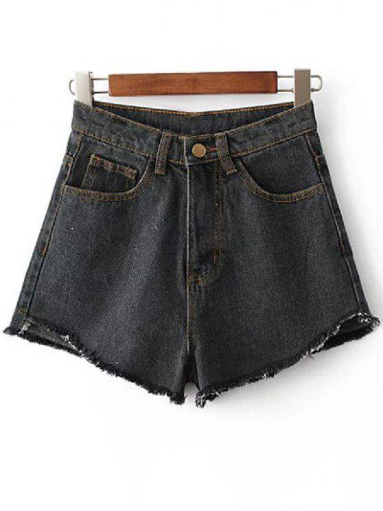 fashion Fringe High Waist Denim Shorts - BLACK 28