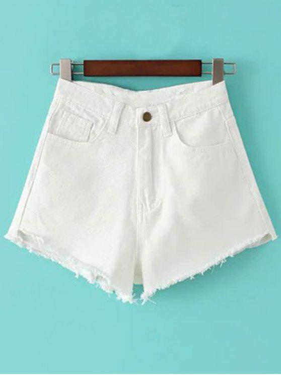 women Fringe High Waist Denim Shorts - WHITE 26