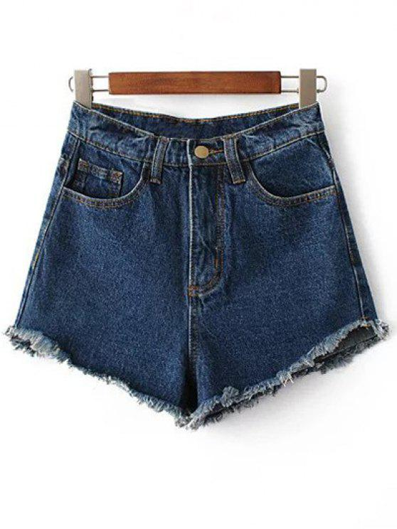 Shorts taille haute en denim avec frange - Bleu Foncé 24