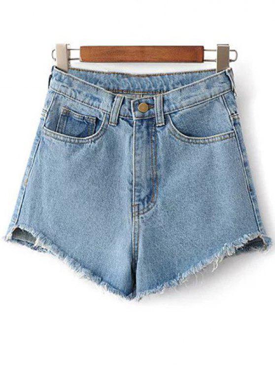 shops Fringe High Waist Denim Shorts - LIGHT BLUE 27
