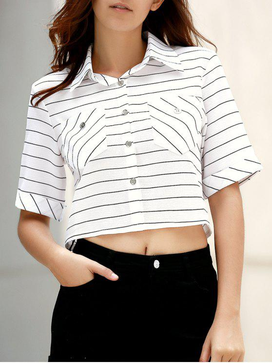 lady Pockets Striped Turn-Down Collar Half Sleeve Belly Shirt - WHITE L