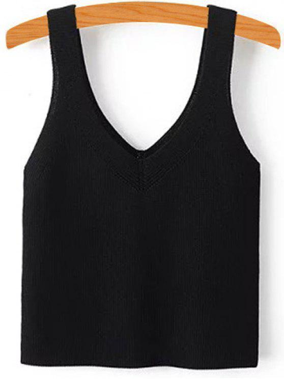 chic Pure Color V Neck Knit Tank Top - BLACK S
