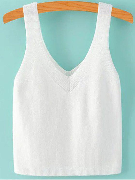 Pure Color cuello en V sin mangas de punto - Blanco M