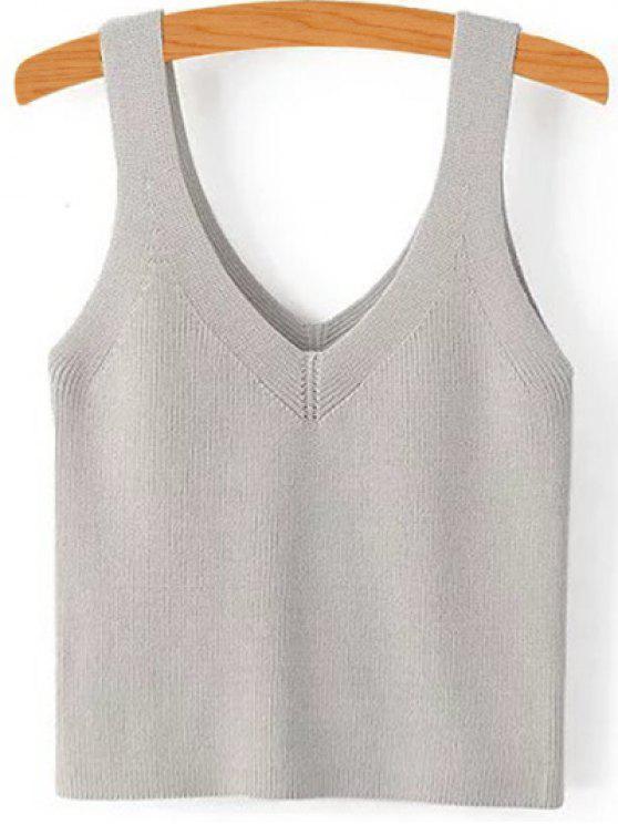 Pure Color cuello en V sin mangas de punto - Gris S