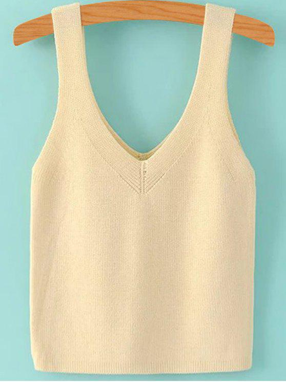 womens Pure Color V Neck Knit Tank Top - BEIGE S