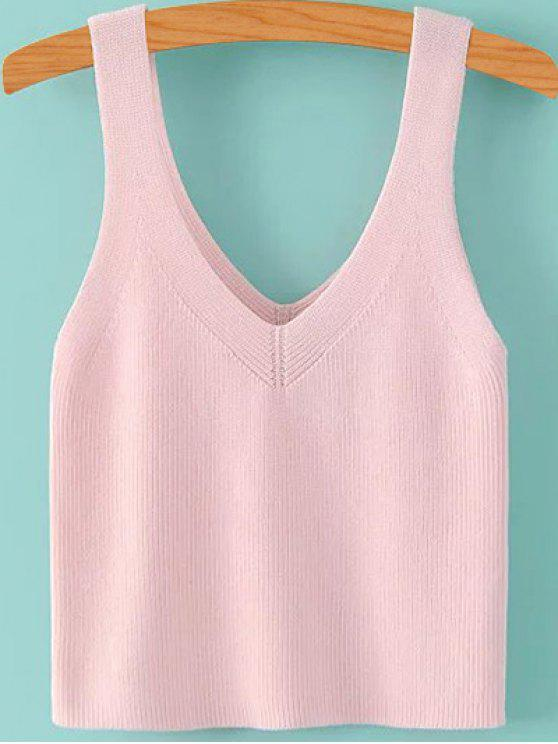 women Pure Color V Neck Knit Tank Top - PINK M