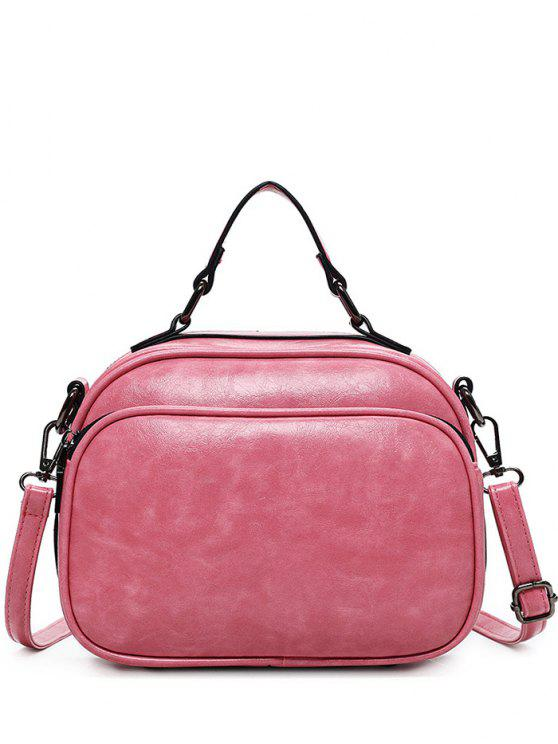 lady Solid Colour PU Leather Tote Bag - PINK