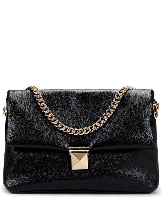 affordable Chain Metal Solid Color Shoulder Bag - BLACK