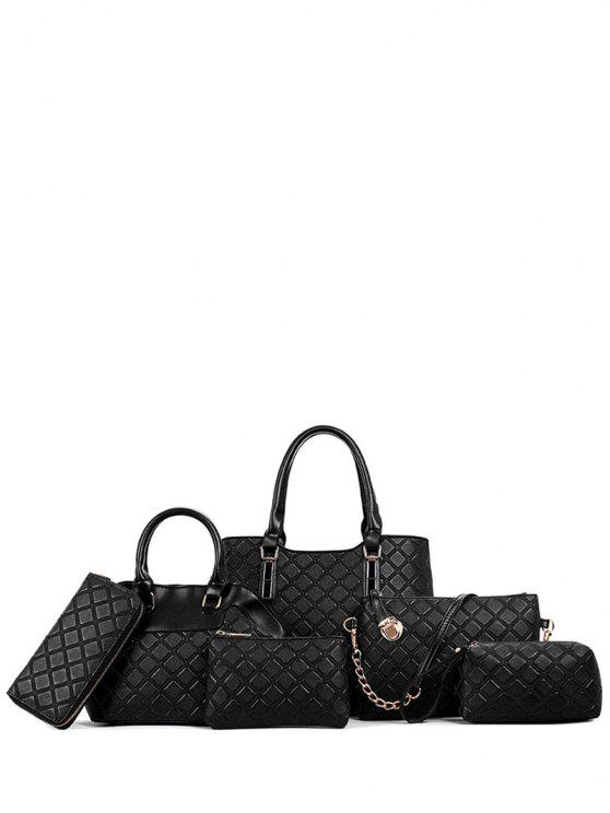 women Checked Embossed PU Leather Tote Bag - BLACK