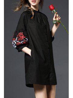 Vestido De Camisa Bordada De La Manga De La Linterna - Negro S