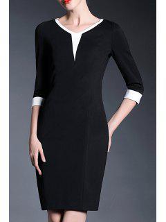V-Neck Sheath Work Dress - White And Black M
