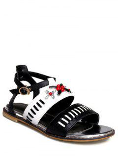 Rhinestone Color Block Flat Heel Sandals - White 39