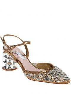 Rhinestone Satin Chunky Heel Sandals - Golden 39