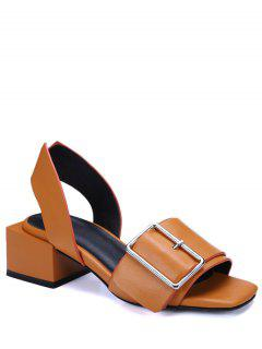 Buckle Solid Color Chunky Heel Sandals - Brown 39