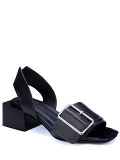 Buckle Solid Color Chunky Heel Sandals - Black 39