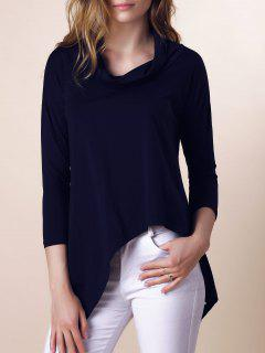 Purple Half Sleeve Asymmetry T-Shirt - Deep Blue L
