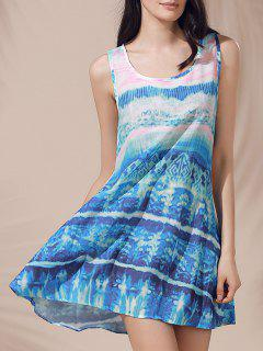 Casual Scoop Neck Printed Sleeveless Sun Dress For Women - Blue M