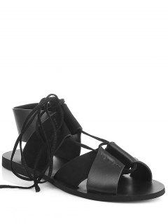 Lace-Up Noir Talon Plat Sandales - [