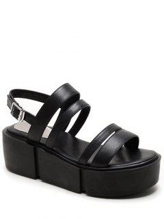Platform Solid Color Genuine Leather Sandals - Black 38