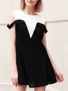 Casual Plus Size Jewel Neck Hit Color Dropped Shoulder Dress For Women - Black Xl