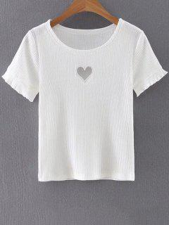 Cut Out Round Neck Short Sleeve Slimming T-Shirt - White S