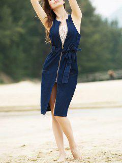 Stylish Round Collar Sleeveless Zipper Fly Belted Slit Denim Dress For Women - Denim Blue S