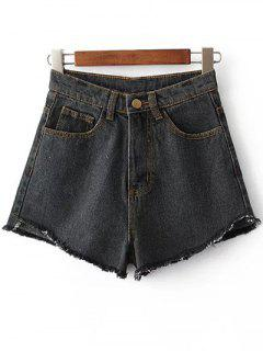 Fringe High Waist Denim Shorts - Black 28