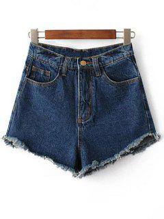 Fringe High Waist Denim Shorts - Deep Blue 28